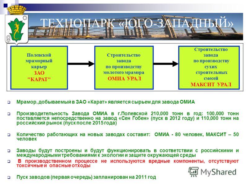 Мрамор, добываемый в ЗАО «Карат» является сырьем для завода ОМИА Производительность Завода ОМИА в г.Полевской 210,000 тонн в год: 100,000 тонн поставляется непосредственно на завод «Сен Гобен» (пуск в 2012 году) и 110,000 тонн на российский рынок (пу