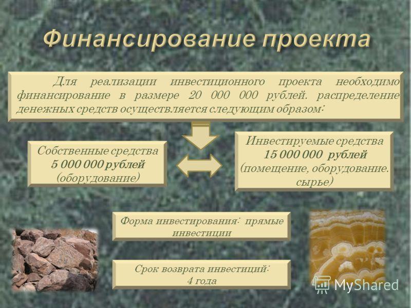 Для реализации инвестиционного проекта необходимо финансирование в размере 20 000 000 рублей. распределение денежных средств осуществляется следующим образом: Собственные средства 5 000 000 рублей (оборудование) Инвестируемые средства 15 000 000 рубл