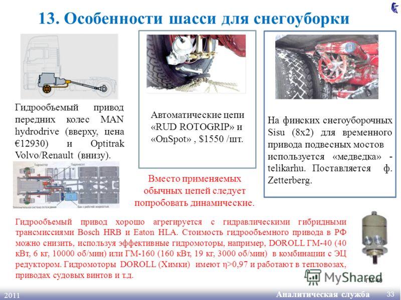 Аналитическая служба 2011 13. Особенности шасси для снегоуборки Автоматические цепи «RUD ROTOGRIP» и «OnSpot», $1550 /шт. На финских снегоуборочных Sisu (8x2) для временного привода подвесных мостов используется «медведка» - telikarhu. Поставляется ф