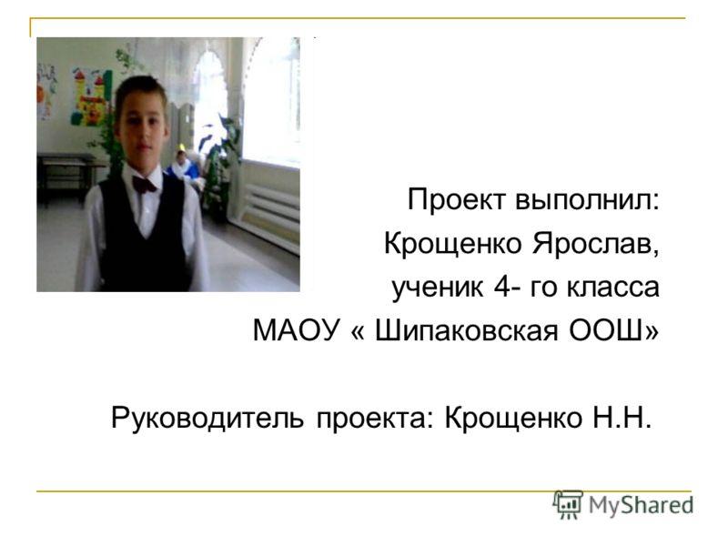 Проект выполнил: Крощенко Ярослав, ученик 4- го класса МАОУ « Шипаковская ООШ» Руководитель проекта: Крощенко Н.Н.