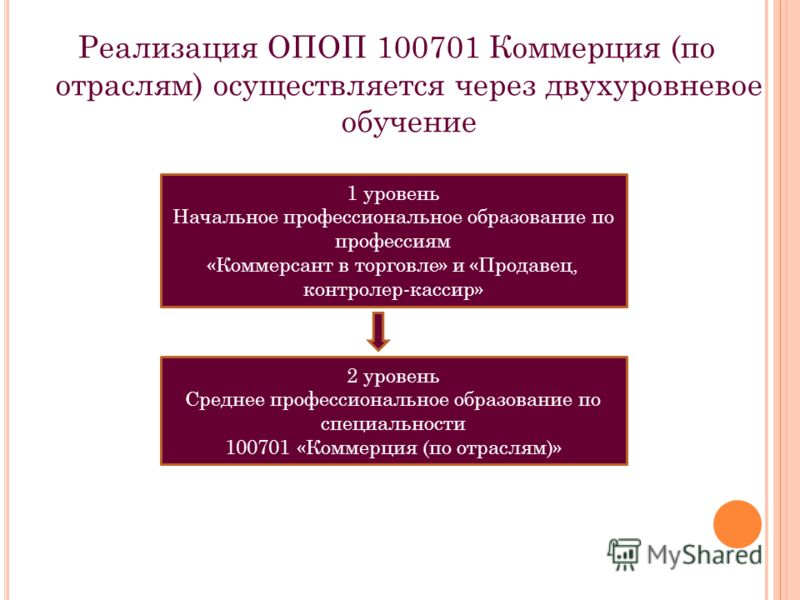 Реализация ОПОП 100701 Коммерция (по отраслям) осуществляется через двухуровневое обучение 1 уровень Начальное профессиональное образование по профессиям «Коммерсант в торговле» и «Продавец, контролер-кассир» 2 уровень Среднее профессиональное образо
