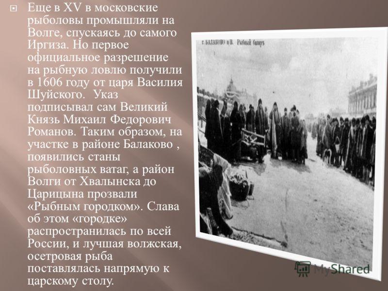 Еще в XV в московские рыболовы промышляли на Волге, спускаясь до самого Иргиза. Но первое официальное разрешение на рыбную ловлю получили в 1606 году от царя Василия Шуйского. Указ подписывал сам Великий Князь Михаил Федорович Романов. Таким образом,