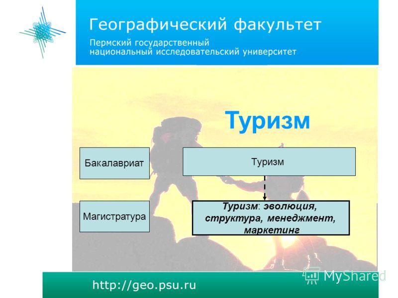 Туризм Туризм: эволюция, структура, менеджмент, маркетинг Бакалавриат Магистратура