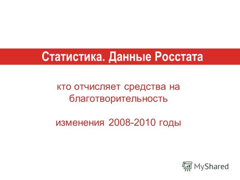 кто отчисляет средства на благотворительность изменения 2008-2010 годы Статистика. Данные Росстата