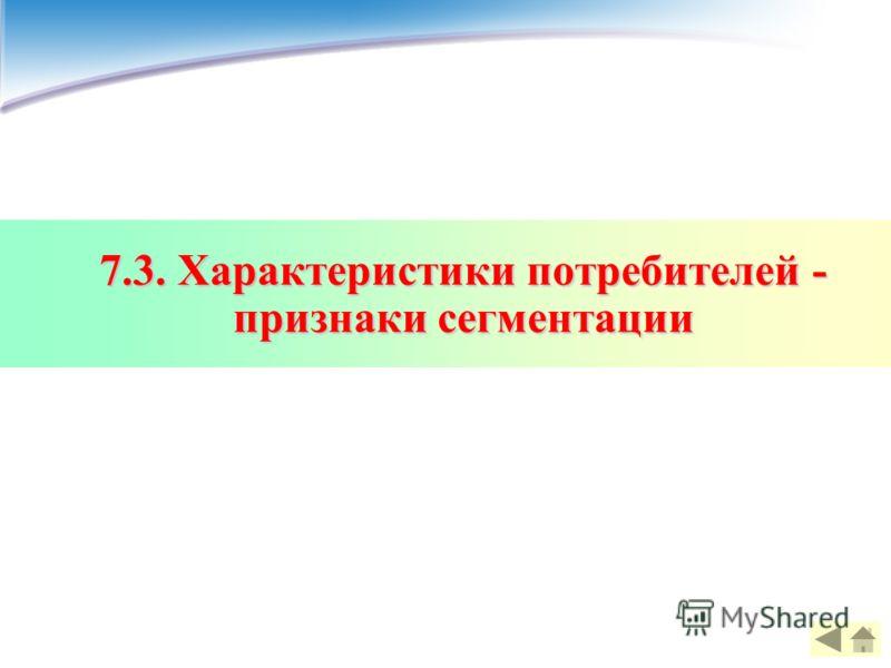 7.3. Характеристики потребителей - признаки сегментации
