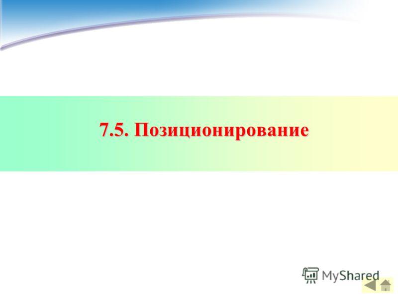 7.5. Позиционирование