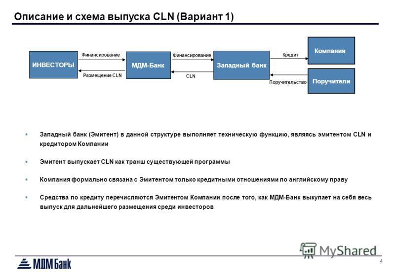 4 Поручители Описание и схема выпуска CLN (Вариант 1) Западный банк (Эмитент) в данной структуре выполняет техническую функцию, являясь эмитентом CLN и кредитором Компании Эмитент выпускает CLN как транш существующей программы Компания формально связ
