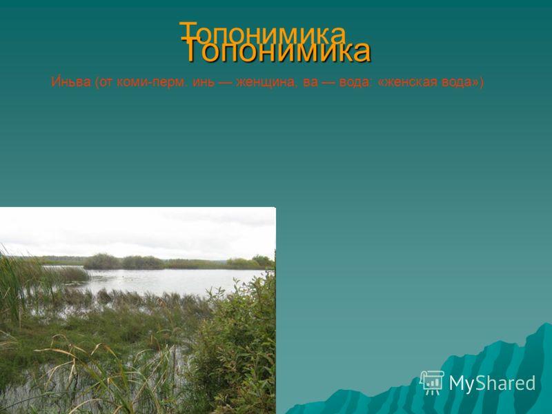 Топонимика И́ньва (от коми-перм. инь женщина, ва вода: «женская вода») Топонимика
