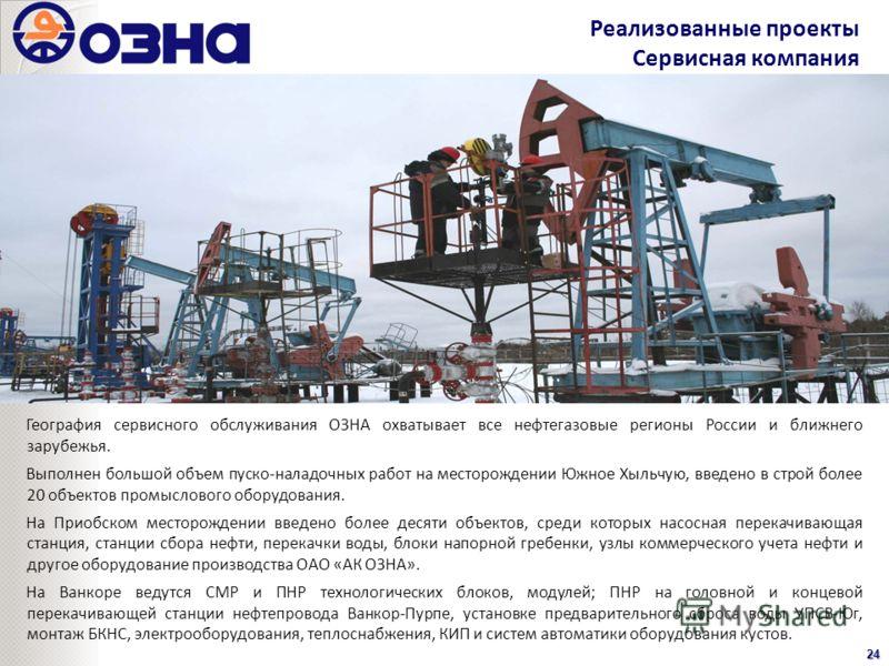 Реализованные проекты Сервисная компания24 География сервисного обслуживания ОЗНА охватывает все нефтегазовые регионы России и ближнего зарубежья. Выполнен большой объем пуско-наладочных работ на месторождении Южное Хыльчую, введено в строй более 20