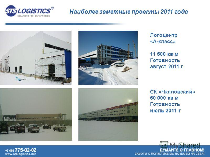 Наиболее заметные проекты 2011 года Логоцентр «А-класс» 11 500 кв м Готовность август 2011 г СК «Чкаловский» 60 000 кв м Готовность июль 2011 г