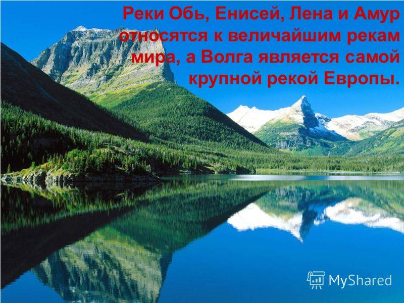 Реки Обь, Енисей, Лена и Амур относятся к величайшим рекам мира, а Волга является самой крупной рекой Европы.