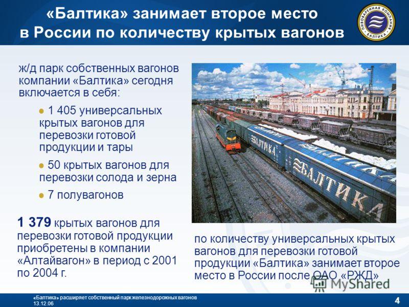 4 «Балтика» расширяет собственный парк железнодорожных вагонов 13.12.06 «Балтика» занимает второе место в России по количеству крытых вагонов ж/д парк собственных вагонов компании «Балтика» сегодня включается в себя: 1 405 универсальных крытых вагоно