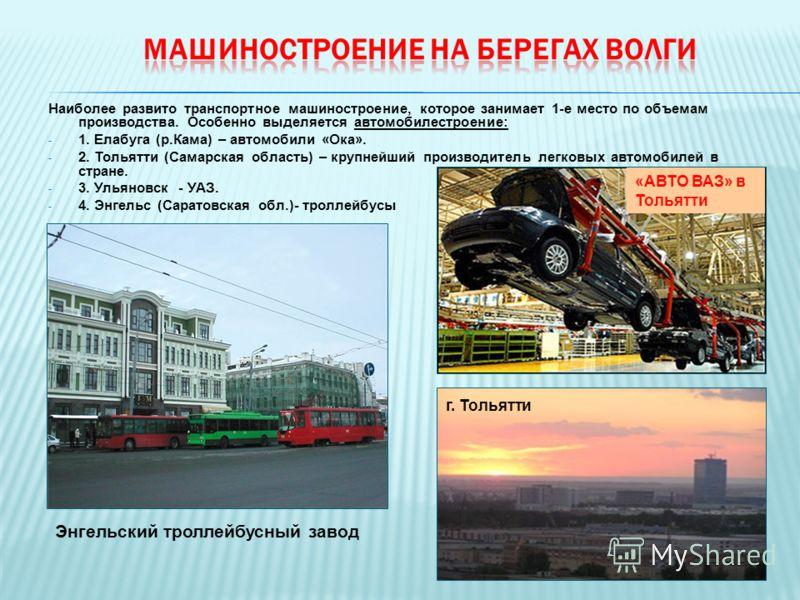 Наиболее развито транспортное машиностроение, которое занимает 1-е место по объемам производства. Особенно выделяется автомобилестроение: - 1. Елабуга (р.Кама) – автомобили «Ока». - 2. Тольятти (Самарская область) – крупнейший производитель легковых
