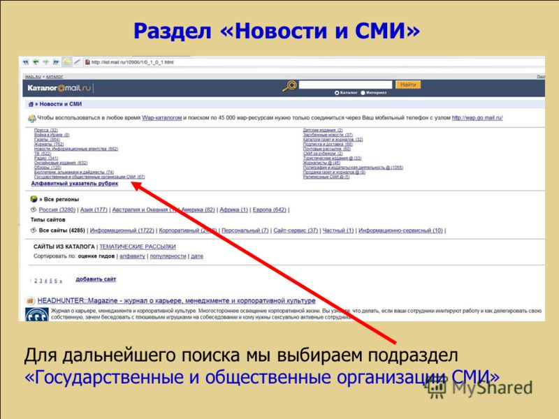 Раздел «Новости и СМИ» Для дальнейшего поиска мы выбираем подраздел «Государственные и общественные организации СМИ»