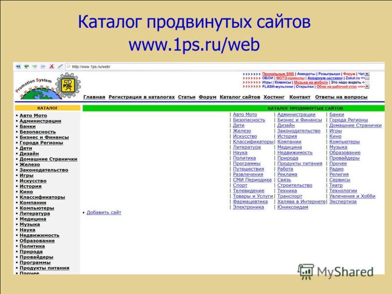 Каталог продвинутых сайтов www.1ps.ru/web
