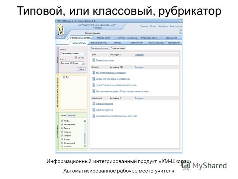 Типовой, или классовый, рубрикатор Информационный интегрированный продукт «КМ-Школа». Автоматизированное рабочее место учителя