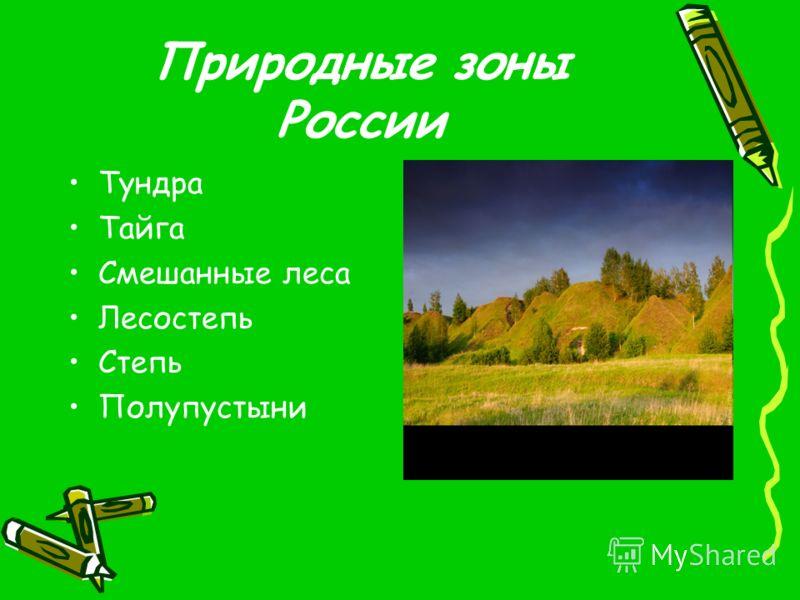 Природные зоны России Тундра Тайга Смешанные леса Лесостепь Степь Полупустыни