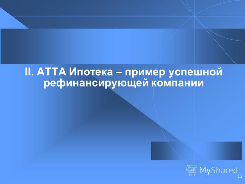 12 II. АТТА Ипотека – пример успешной рефинансирующей компании