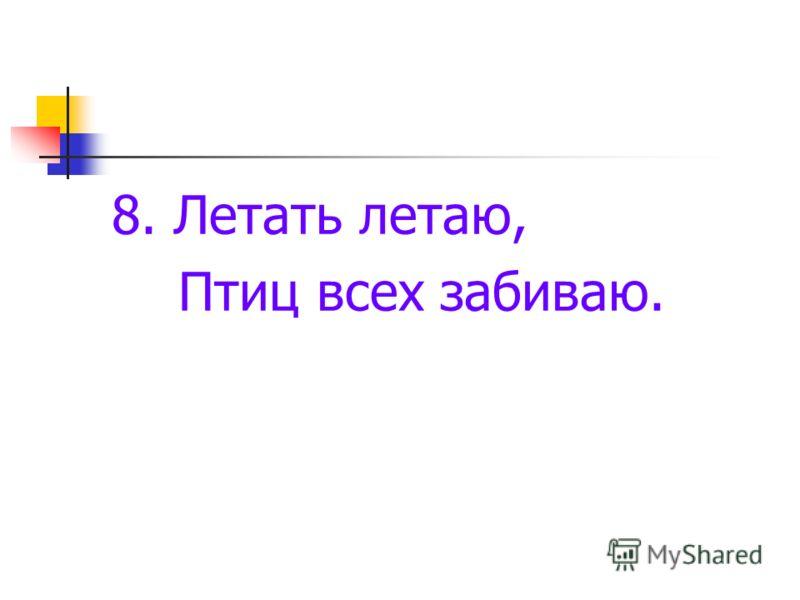8. Летать летаю, Птиц всех забиваю.