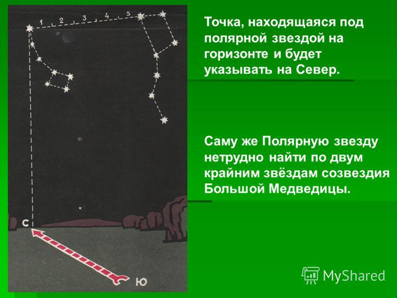 Точка, находящаяся под полярной звездой на горизонте и будет указывать на Север. Саму же Полярную звезду нетрудно найти по двум крайним звёздам созвездия Большой Медведицы.