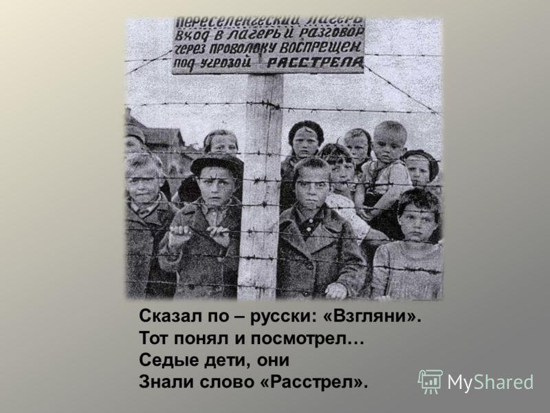 Сказал по – русски: «Взгляни». Тот понял и посмотрел… Седые дети, они Знали слово «Расстрел».