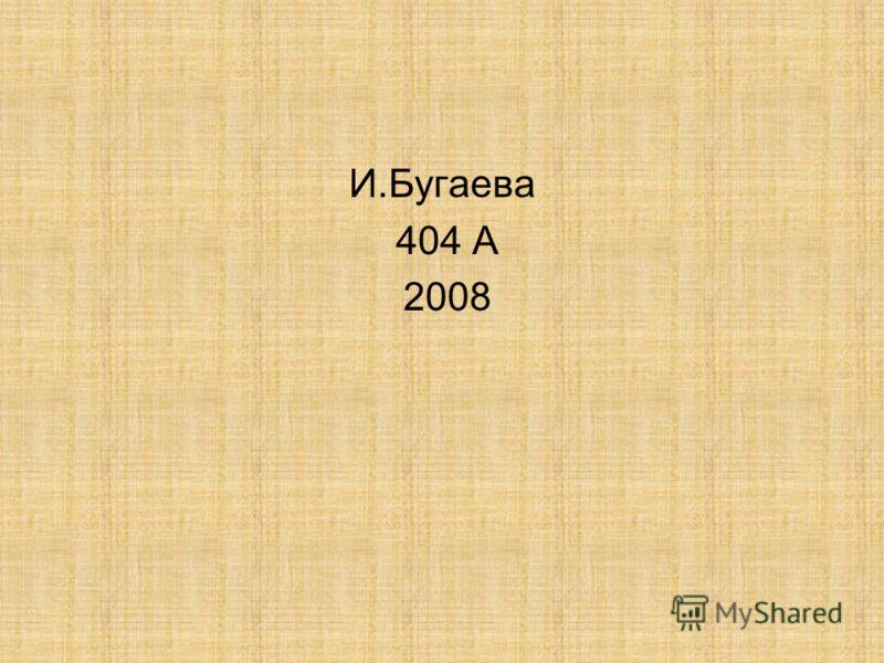 И.Бугаева 404 А 2008