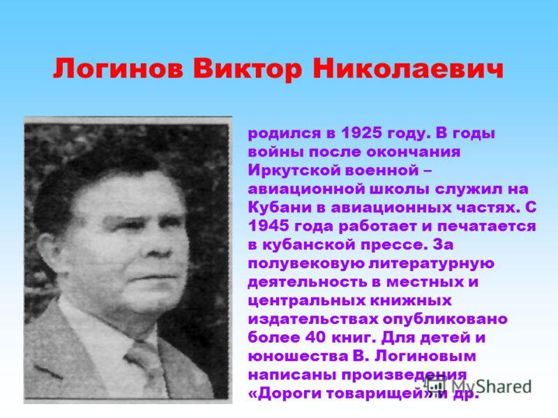 Логинов Виктор Николаевич родился в 1925 году. В годы войны после окончания Иркутской военной – авиационной школы служил на Кубани в авиационных частях. С 1945 года работает и печатается в кубанской прессе. За полувековую литературную деятельность в