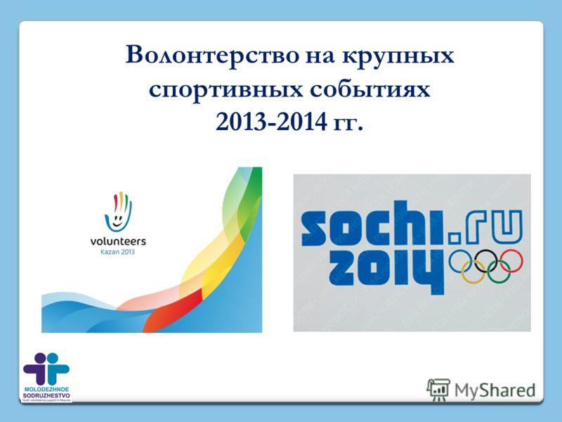 Волонтерство на крупных спортивных событиях 2013-2014 гг.