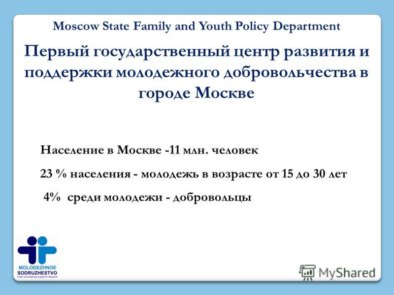 Moscow State Family and Youth Policy Department Первый государственный центр развития и поддержки молодежного добровольчества в городе Москве Население в Москве -11 млн. человек 23 % населения - молодежь в возрасте от 15 до 30 лет 4% среди молодежи -