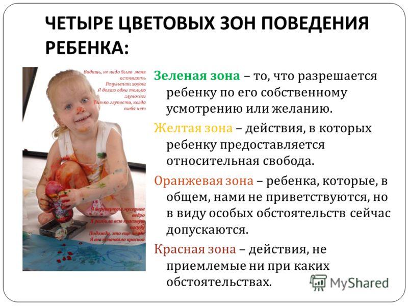 ЧЕТЫРЕ ЦВЕТОВЫХ ЗОН ПОВЕДЕНИЯ РЕБЕНКА : Зеленая зона – то, что разрешается ребенку по его собственному усмотрению или желанию. Желтая зона – действия, в которых ребенку предоставляется относительная свобода. Оранжевая зона – ребенка, которые, в общем