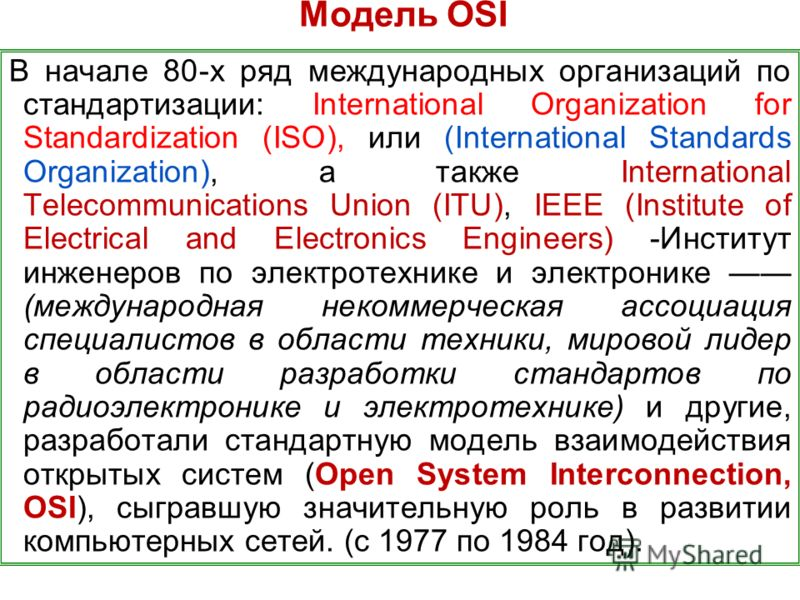 Модель OSI В начале 80-х ряд международных организаций по стандартизации: International Organization for Standardization (ISO), или (International Standards Organization), а также International Telecommunications Union (ITU), IEEE (Institute of Elect