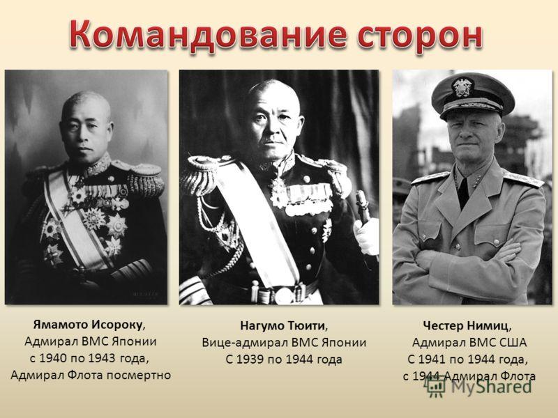 Ямамото Исороку, Адмирал ВМС Японии с 1940 по 1943 года, Адмирал Флота посмертно Нагумо Тюити, Вице-адмирал ВМС Японии С 1939 по 1944 года Честер Нимиц, Адмирал ВМС США С 1941 по 1944 года, с 1944 Адмирал Флота