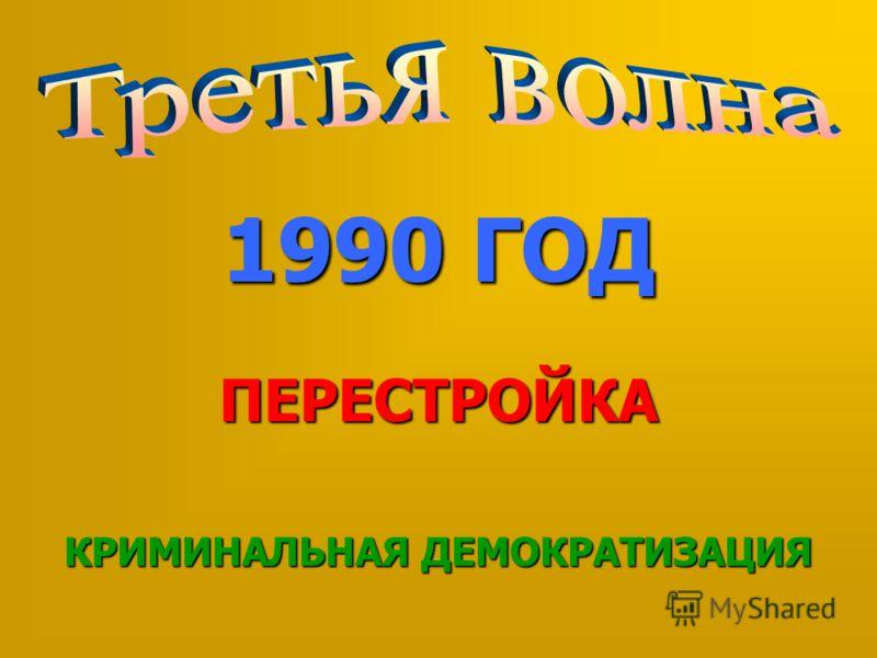 1990 ГОД ПЕРЕСТРОЙКА КРИМИНАЛЬНАЯ ДЕМОКРАТИЗАЦИЯ