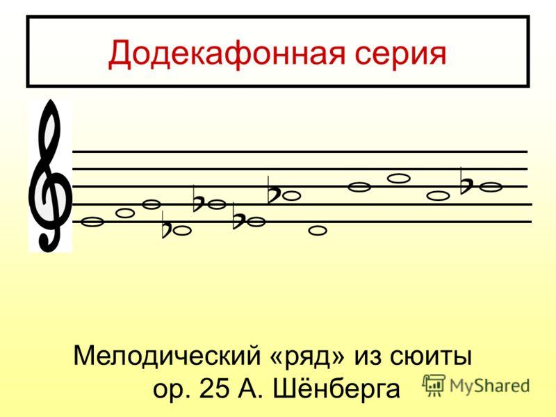 Додекафонная серия Мелодический «ряд» из сюиты ор. 25 А. Шёнберга