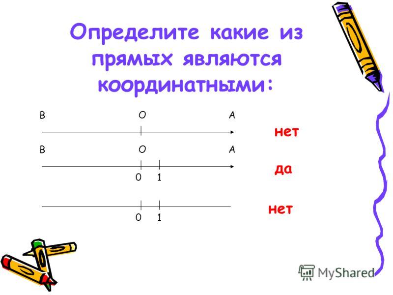 Определите какие из прямых являются координатными: В АОО В А 01 01 нет да нет