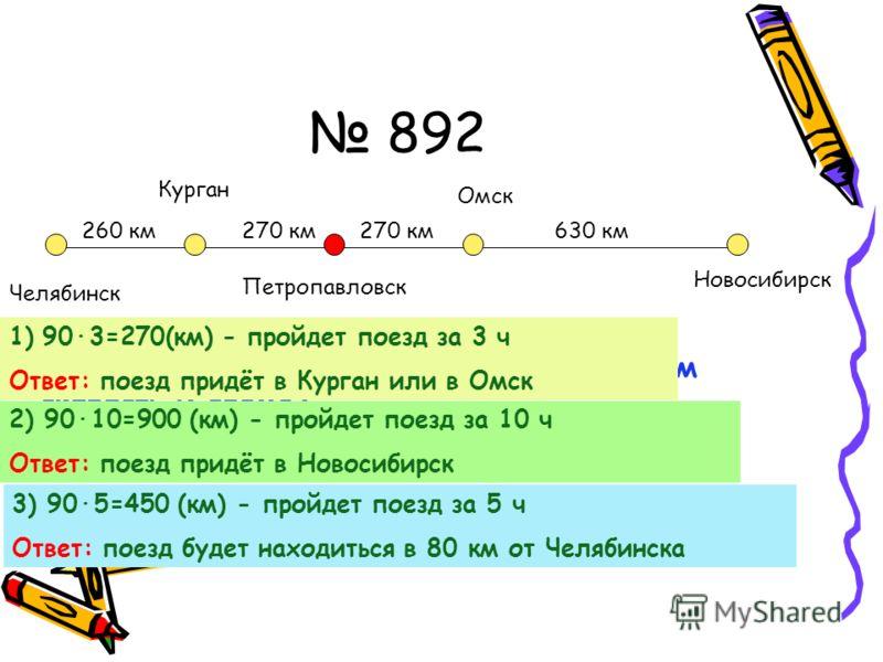 892 Петропавловск Омск Курган Челябинск Новосибирск 270 км 630 км260 км Как найти путь, расстояние, если мы знаем скорость и время? Расстояние = скорость x время 1)903=270(км) - пройдет поезд за 3 ч Ответ: поезд придёт в Курган или в Омск 2) 9010=900