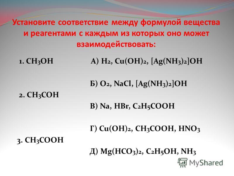 Установите соответствие между формулой вещества и реагентами с каждым из которых оно может взаимодействовать: 1. CH 3 OH A) H 2, Cu(OH) 2, [Ag(NH 3 ) 2 ]OH Б) O 2, NaCl, [Ag(NH 3 ) 2 ]OH 2. CH 3 COH В) Na, HBr, C 2 H 5 COOH Г) Cu(OH) 2, CH 3 COOH, HN