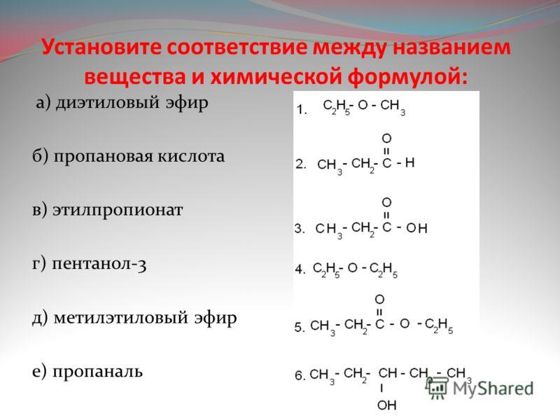 Установите соответствие между названием вещества и химической формулой: а) диэтиловый эфир б) пропановая кислота в) этилпропионат г) пентанол-3 д) метилэтиловый эфир е) пропаналь