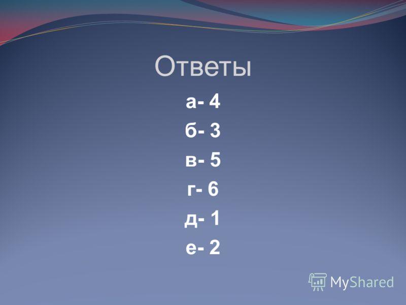 Ответы а- 4 б- 3 в- 5 г- 6 д- 1 е- 2