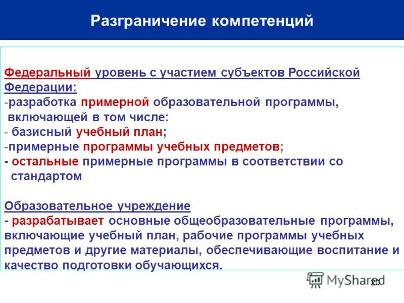 20 Разграничение компетенций Федеральный уровень с участием субъектов Российской Федерации: -разработка примерной образовательной программы, включающей в том числе: - базисный учебный план; -примерные программы учебных предметов; - остальные примерны