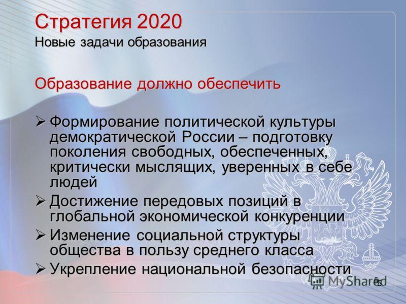 5 Стратегия 2020 Новые задачи образования Образование должно обеспечить Формирование политической культуры демократической России – подготовку поколения свободных, обеспеченных, критически мыслящих, уверенных в себе людей Формирование политической ку