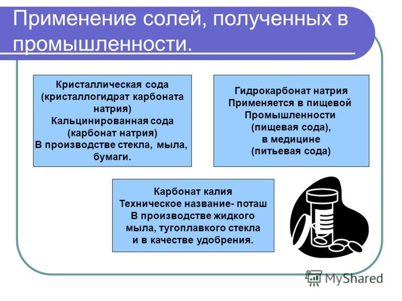 Применение солей, полученных в промышленности. Кристаллическая сода (кристаллогидрат карбоната натрия) Кальцинированная сода (карбонат натрия) В производстве стекла, мыла, бумаги. Гидрокарбонат натрия Применяется в пищевой Промышленности (пищевая сод