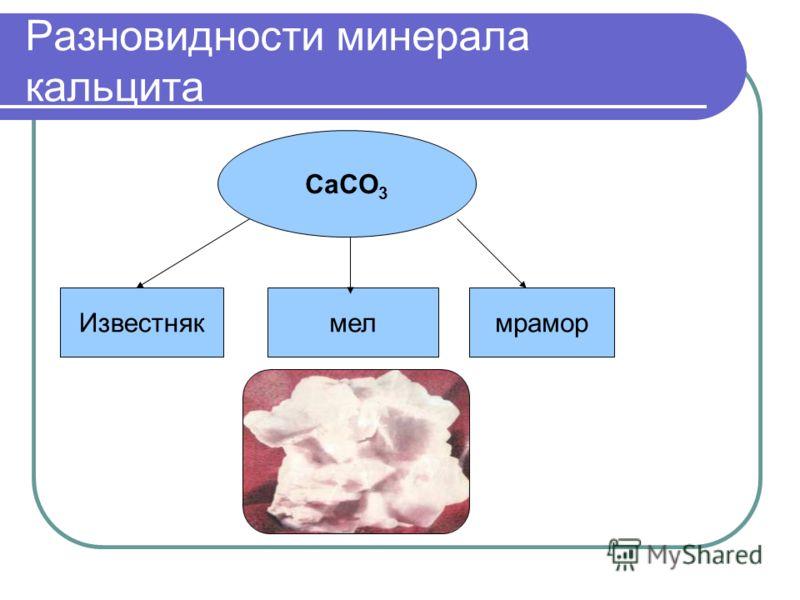 Разновидности минерала кальцита CaCO 3 Известнякмелмрамор