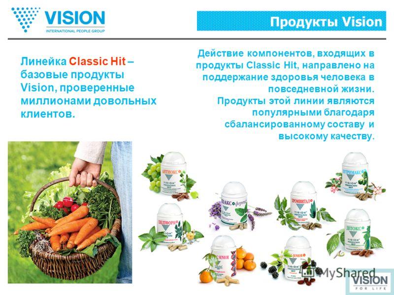 Линейка Classic Hit – базовые продукты Vision, проверенные миллионами довольных клиентов. Действие компонентов, входящих в продукты Classic Hit, направлено на поддержание здоровья человека в повседневной жизни. Продукты этой линии являются популярным