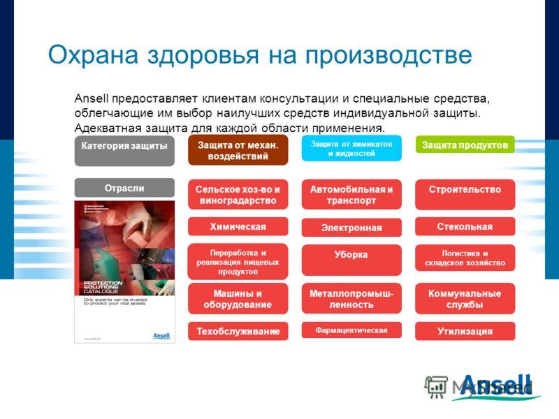 Ansell предоставляет клиентам консультации и специальные средства, облегчающие им выбор наилучших средств индивидуальной защиты. Адекватная защита для каждой области применения. Охрана здоровья на производстве Защита от механ. воздействий Защита от х