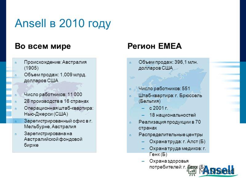 Ansell в 2010 году Во всем миреРегион ЕМЕА n Объем продаж: 396,1 млн. долларов США n Число работников: 551 n Штаб-квартира: г. Брюссель (Бельгия) –с 2001 г. –18 национальностей n Реализация продукции в 70 странах n Распределительные центры –Охрана тр