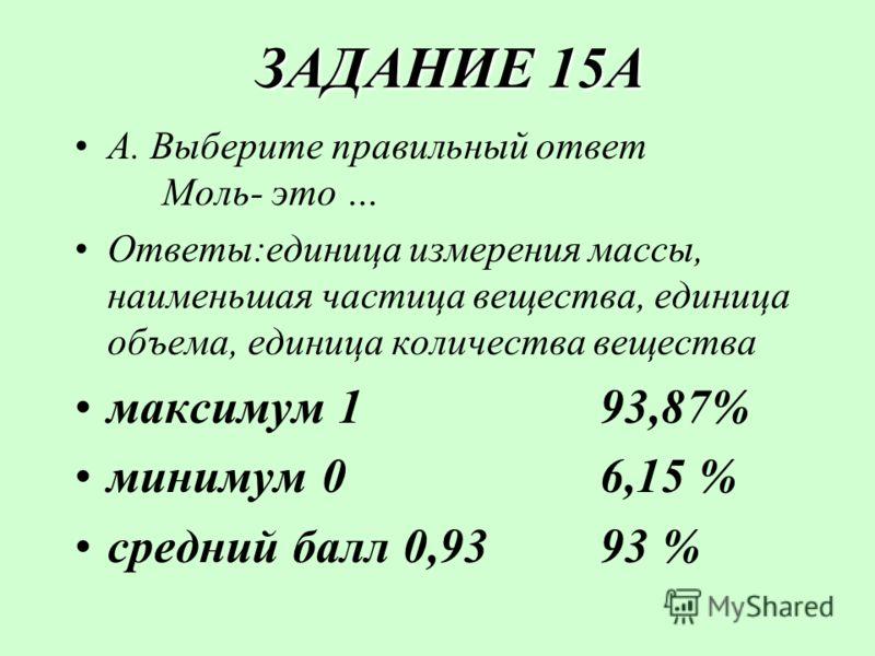 ЗАДАНИЕ 15А ЗАДАНИЕ 15А А. Выберите правильный ответ Моль- это … Ответы:единица измерения массы, наименьшая частица вещества, единица объема, единица количества вещества максимум 193,87% минимум 06,15 % средний балл 0,9393 %