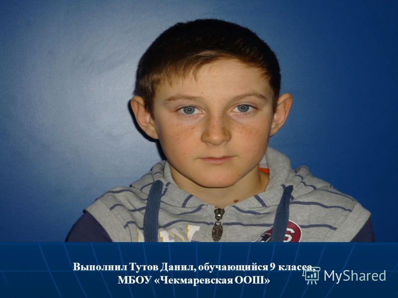 Выполнил Тутов Данил, обучающийся 9 класса, МБОУ «Чекмаревская ООШ»