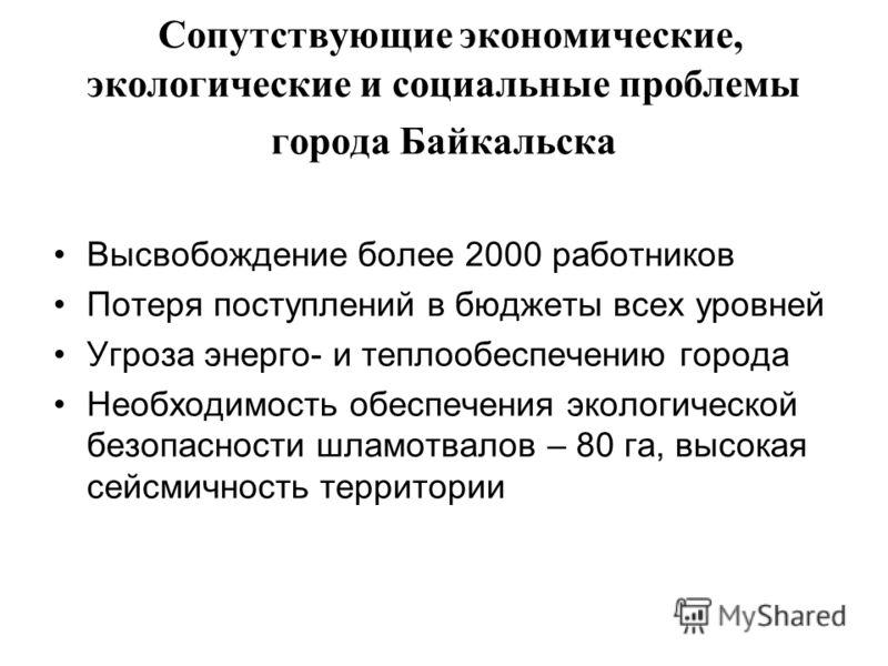 Сопутствующие экономические, экологические и социальные проблемы города Байкальска Высвобождение более 2000 работников Потеря поступлений в бюджеты всех уровней Угроза энерго- и теплообеспечению города Необходимость обеспечения экологической безопасн