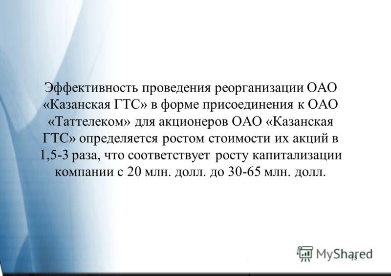 18 Эффективность проведения реорганизации ОАО «Казанская ГТС» в форме присоединения к ОАО «Таттелеком» для акционеров ОАО «Казанская ГТС» определяется ростом стоимости их акций в 1,5-3 раза, что соответствует росту капитализации компании с 20 млн. до